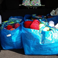 All packed up for #TheLinusConnection! #blanketcharity #yarn #quilts