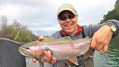 Brian enjoys a bright Rainbow on an overcast day