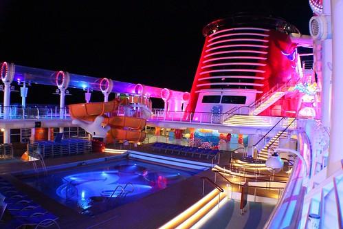 Main pool deck at night