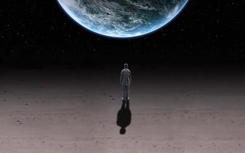 [フリー画像素材] グラフィック, フォトレタッチ, 人物 - 後ろ姿, グラフィック - 宇宙, 地球 ID:201204230000