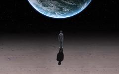 [免费图片素材] 图形, 图片处理, 人物 - 背影, 图形 - 宇宙, 地球 ID:201204230000
