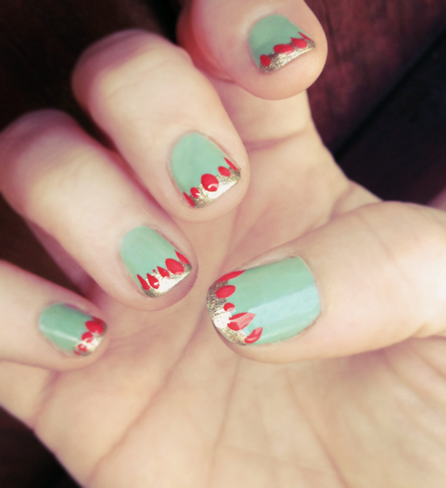 mid century modern nail  art  manicure -sonia kashuk-mint- gold-coral nails