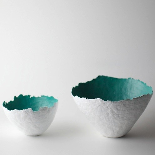 pair of large and small aqua paper mache bowls