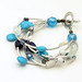 Andrea Rosenfeld: Turquoise Pearl Sterling Aqua Howlite Blue Goldstone Glass Bracelet Healing Side