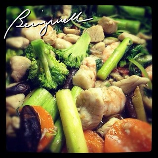 Cooking Stir fry Shrimp with Mixed Vegetables