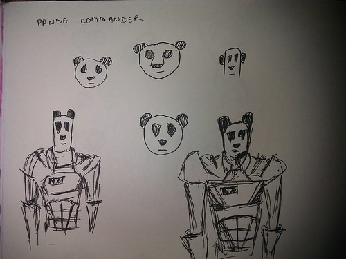 doodles of a panda in an N7 armor suit as well as several different shaped panda heads