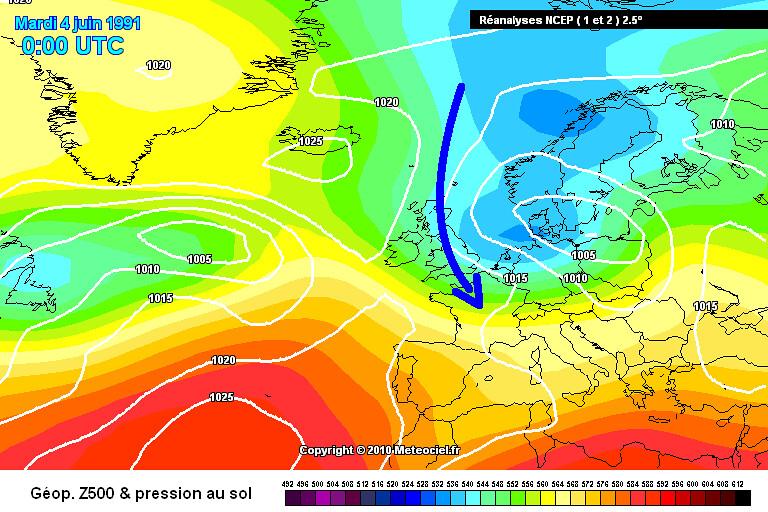 carte des masses d'air lors des records de froid et des gelées tardives des 4 et 5 juin 1991 météopassion