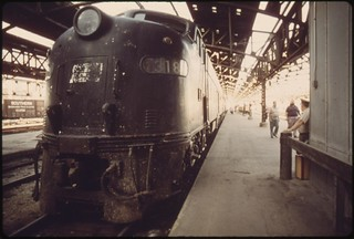 Loading platform at Union Station in Kansas City, Missouri The old engine pulled a train from New York which will connect with the Southwest Limited which runs between Chicago and Los Angeles, June 1974