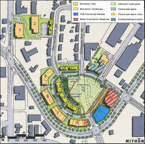 site plan for Sunset Terrace section (by: Mithun via City of Renton, Community Investment Strategy)