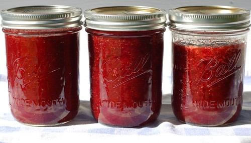 Three pints of homemade strawberry jam by Eve Fox, Garden of Eating blog, copyright 2012