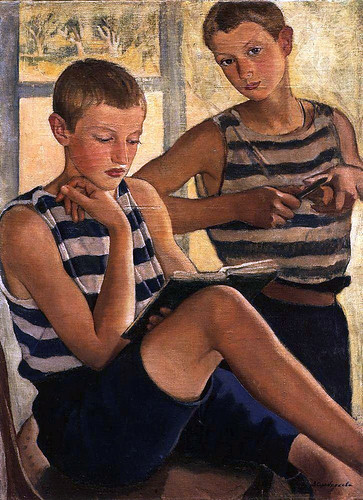 Serebriakova, Zinaida (Russian, 1884-1967) - Boys in Sailor's Striped Shirts - 1919