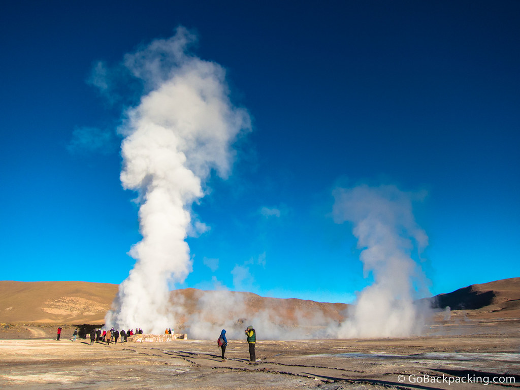 Once the sun was up, the sky turned a brilliant blue, offering a sharp contrast against the steam of the geysers