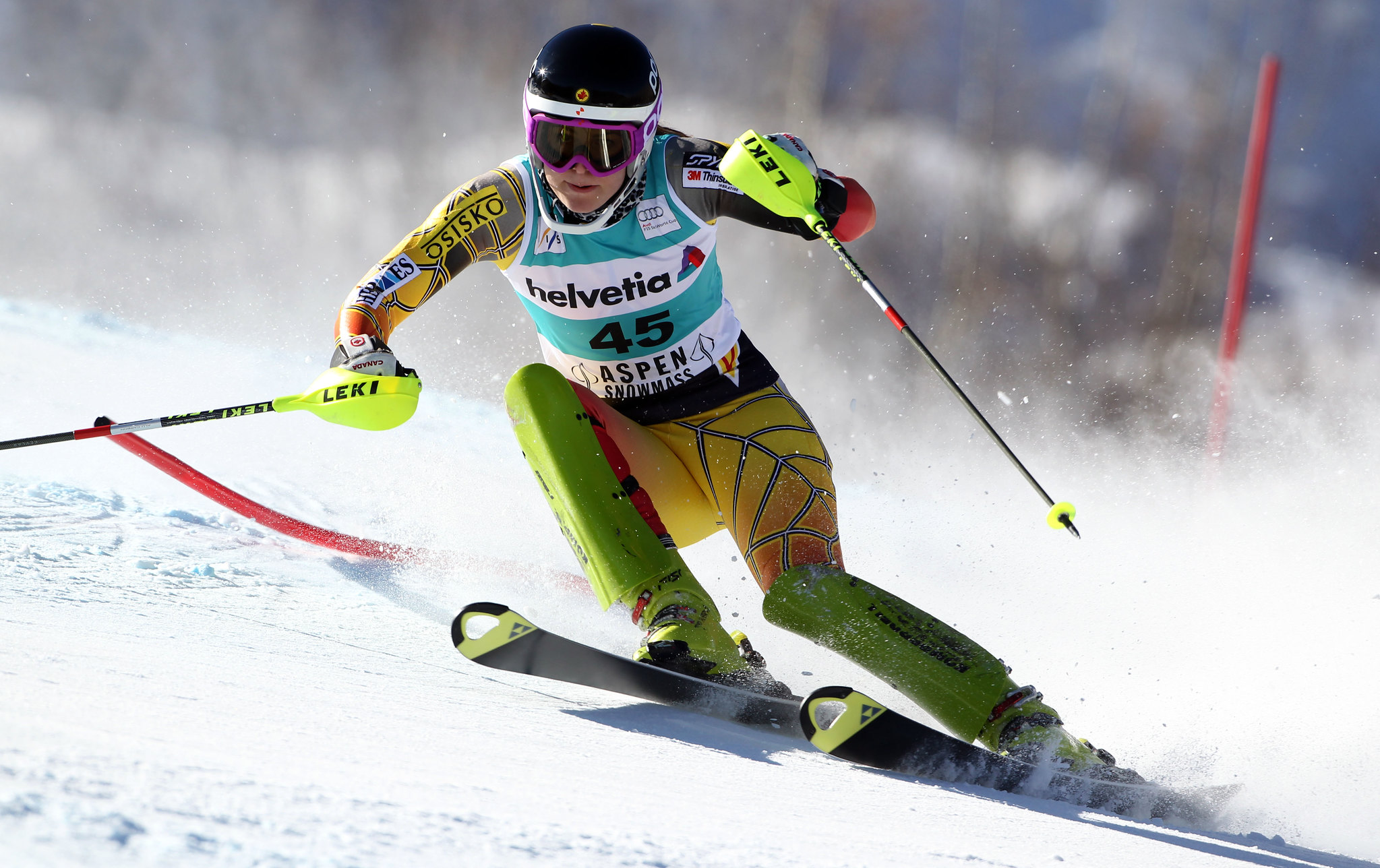 Elli Terwiel at the World Cup slalom in Aspen.