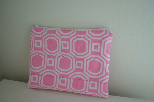 Pink & White zippy pouch 1