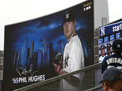 Phil Hughes on the big scoreboard at Yankee Stadium