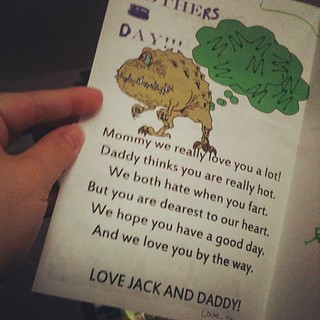 "lol... I love them.  Joel said to Jack, ""We need to make a Mother's Day card."" And Jack said, ""A monster day card?"""
