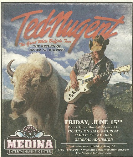 06-15-12 Ted Nugent/Laura Wilde @ Medina Ent. Ctr., Median, MN (Ad)