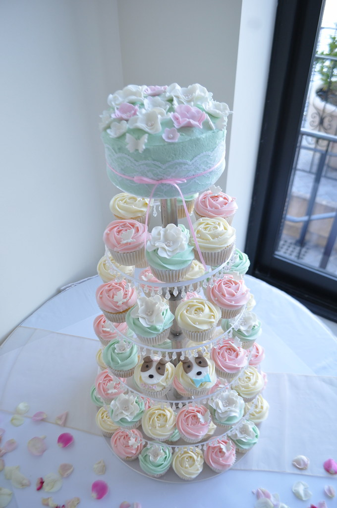 Tiffany Blue Pale Pink And Cream Wedding Cupcakes A