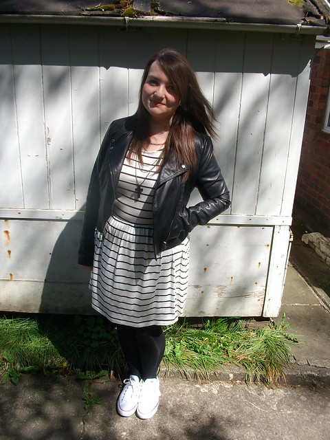 stripey dress, biker jacket,