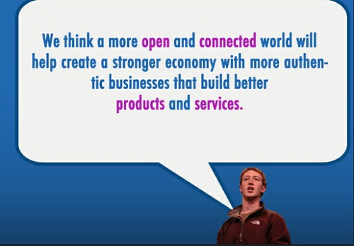 mark zuckerberg quote we think a more open and connected world will help create a stronger economy with more authentic businesses that build better products and services