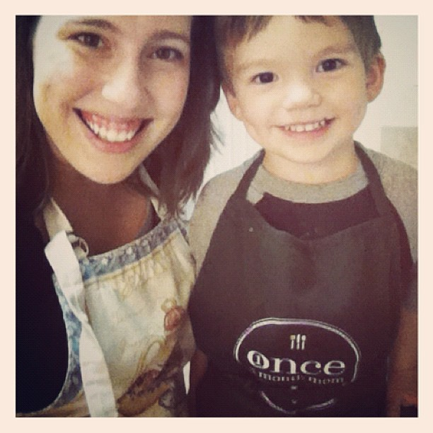 Aproned up and ready to help mommy. I gave him the most manly apron we own, @arp03. ;)