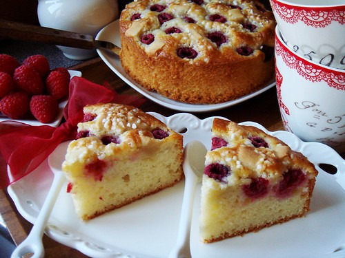 Raspberry Almond Yogurt Cake