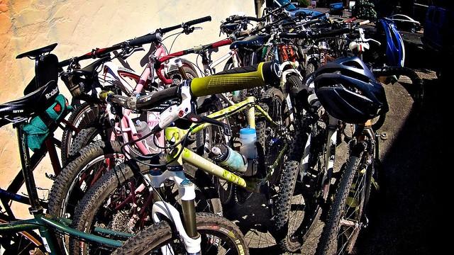 Post ride pile 'o bikes