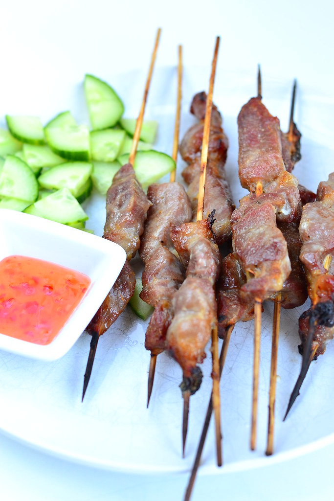 Thai grilled pork skewers