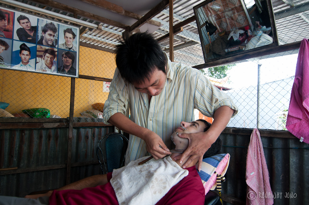 Getting shaved in Chau Giang
