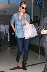 Charlize Theron Denim Shirt Celebrity Style Woman's Fashion