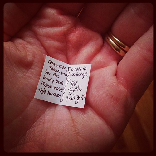 365 :: First Tooth Fairy visit. Budget cuts only allow dollars this year. But at least you get a nice note.