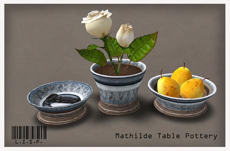 Mathilde Dining Pottery Set (LISP Bazaar), not free by Cherokeeh Asteria