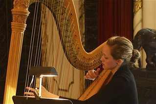A harpist in Heinz Hall Grand Lobby