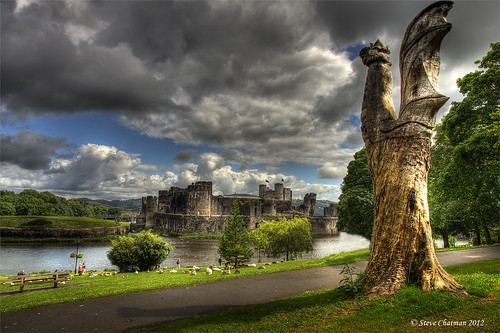 uk castle water wales clouds canon fisherman moat hdr 1740 bcc 2012 caerphilly photomatix 5dmk11 stevechatman