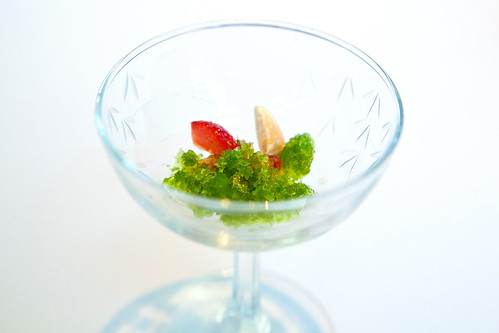 Amuse #2: Coriander ice, fig leaf, strawberry, cardamom, Marcona almond with strawberry gazpacho flavored with coriander blossom