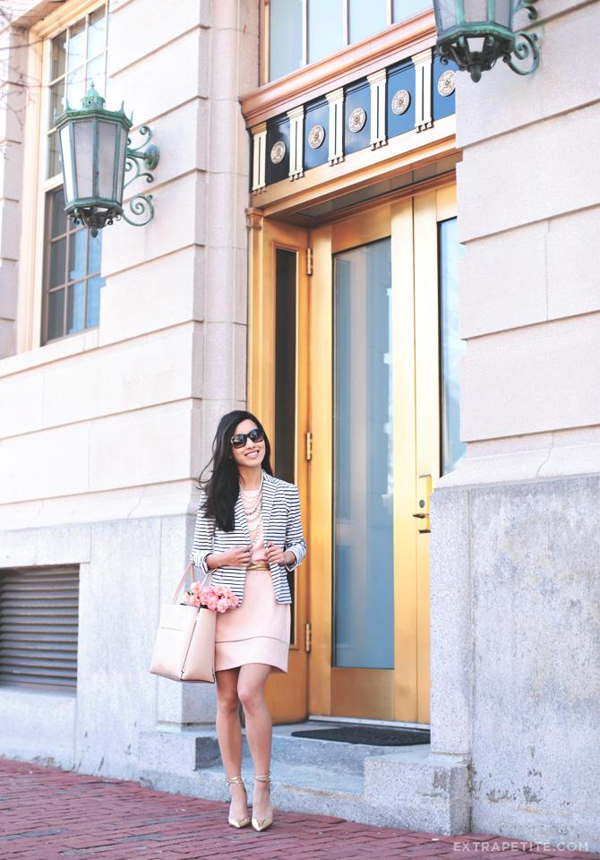 pink dress gold heels
