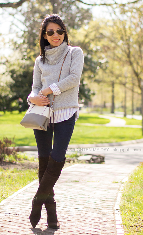 gray turtleneck sweater, striped dress shirt, brown suede over the knee boots