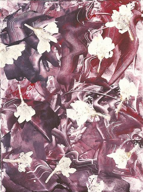 Purple Blooms Monoprint