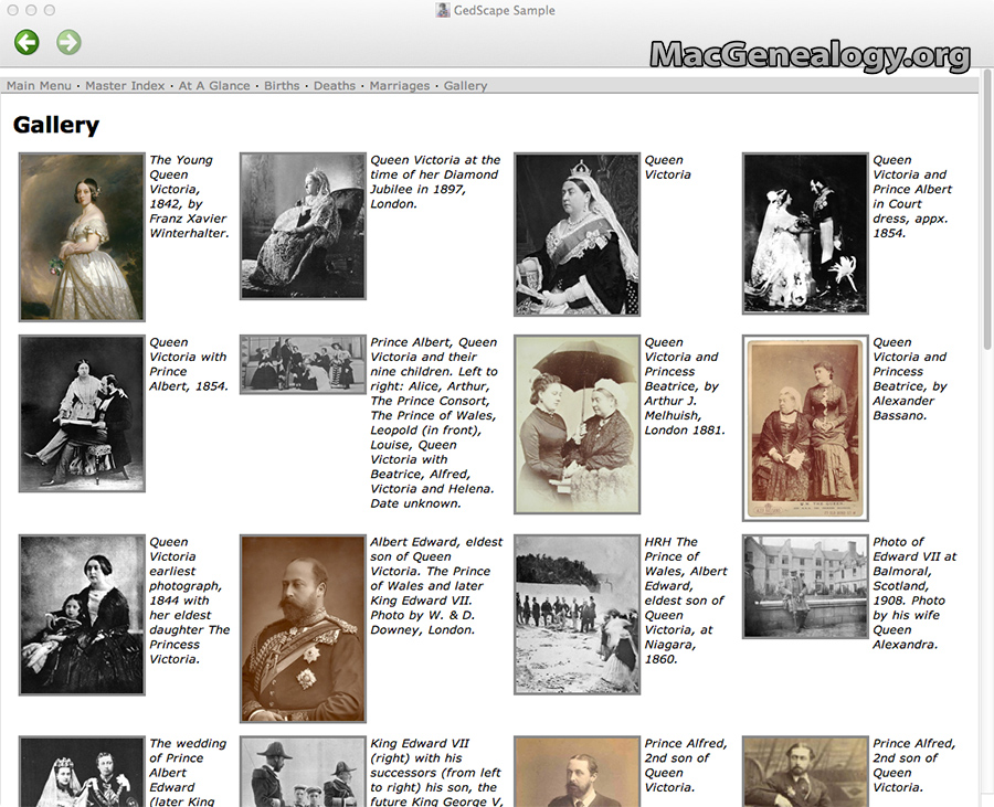 Mac Genealogy Software - GedScape Gallery