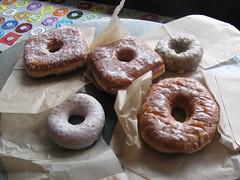 icing(0.0), doughnut(1.0), pastry(1.0), baking(1.0), baked goods(1.0), food(1.0), dessert(1.0), cuisine(1.0), snack food(1.0), bagel(1.0),
