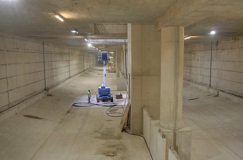 The bottom of the Crossrail station at Canary Wharf