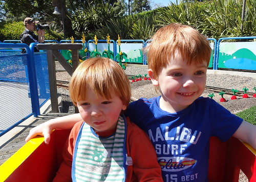 Archie and Henry on Duplo Playtown Train