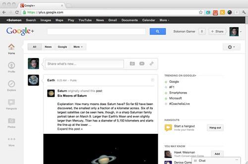 Screenshot of New Google Plus