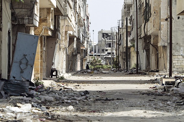 A general view shows destruction in the Bab Amro neighbourhood of Homs on May 2, 2012.