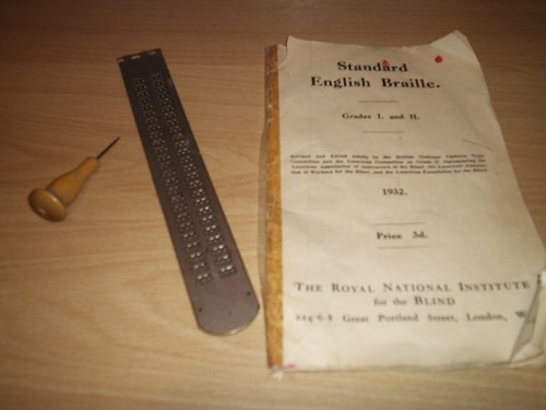 Braille Frame, punch, and Braille Handbook