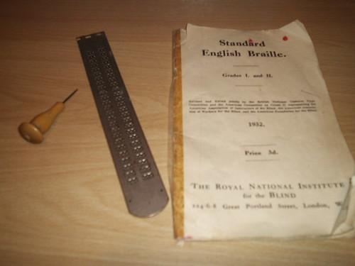 Braille Frame, punch, and Braille Handbook