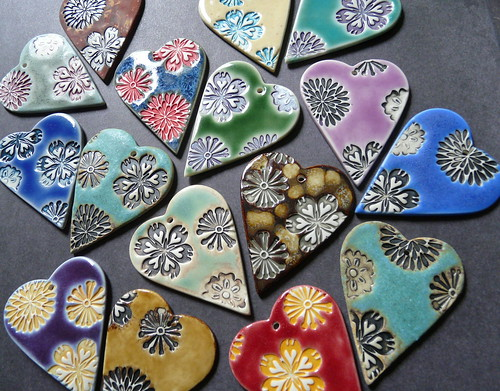 Batik Print Hearts - Porcelain Pendants