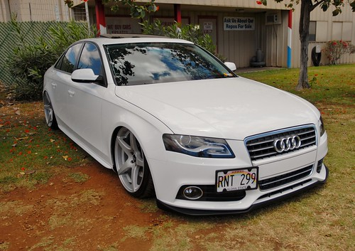 white audi s4 air suspension slammed