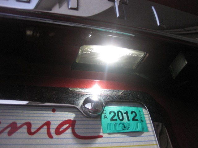 changing rear license plate light blubs to LED - Nissan ...