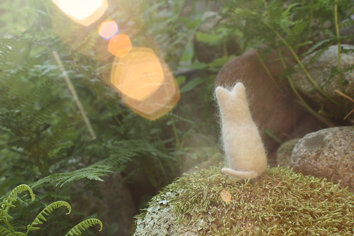 Needle Felted Cat - Real Cat Hair and Wool